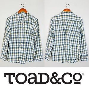Horny Toad Womens Plaid Button Down Shirt Top Sz L
